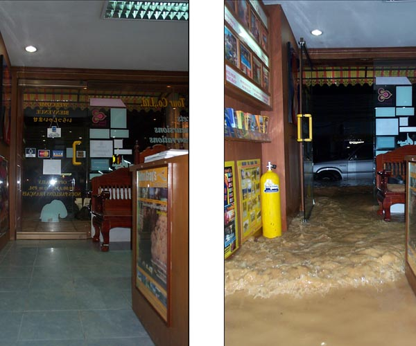 South Tours worst flooding in 2004 Patong Beach