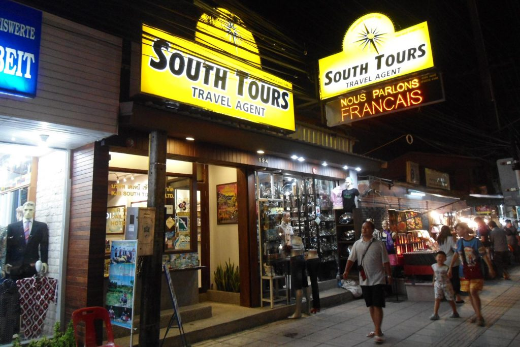 South Tours office Patong Beach night view