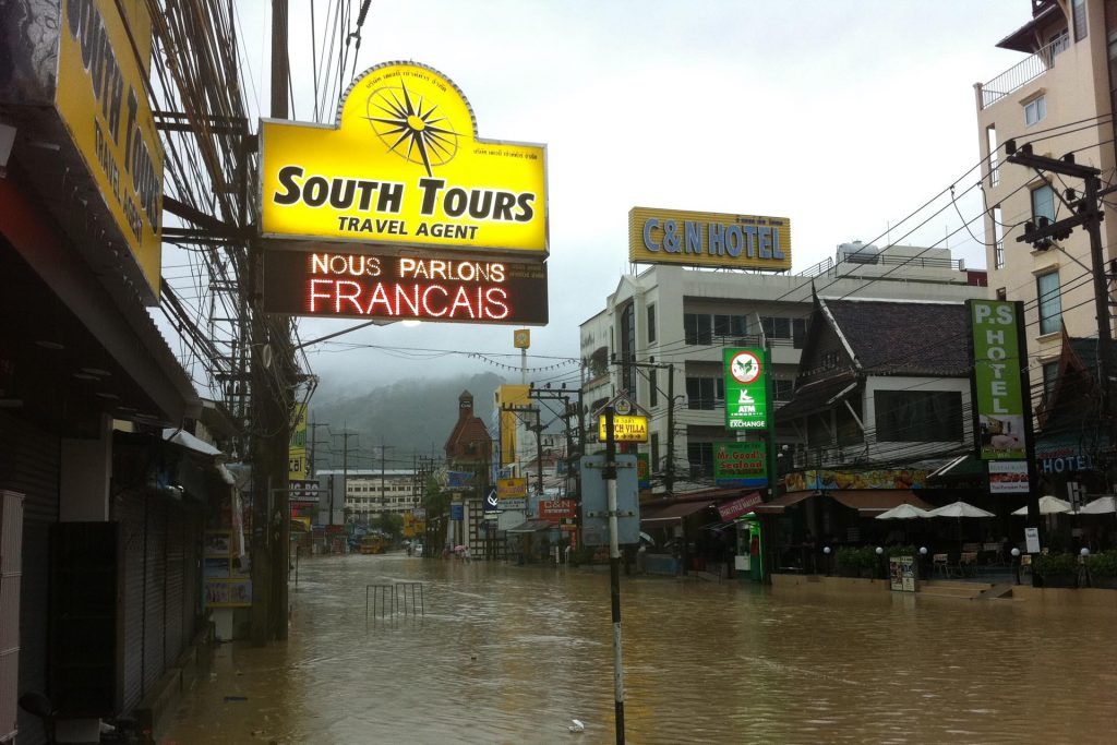 South Tours Office on a big rainy day - Patong Beach Phuket